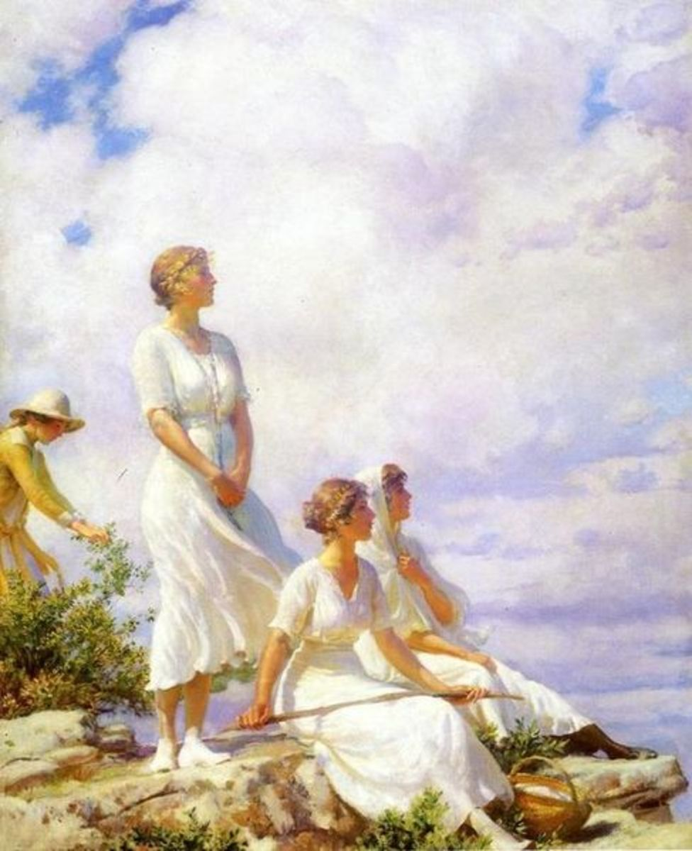 """Summer Clouds"" circa 1910 by Charles Courtney Curran.  I absolutely love this piece.  I am very curious too, what the woman in yellow is doing."
