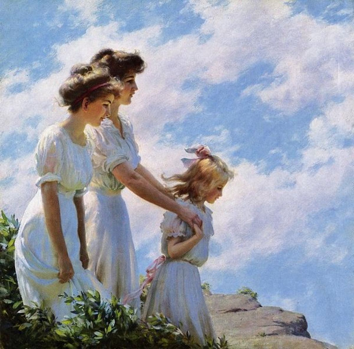 "This is such a beautiful painting.  The time period is reflected in the way the ladies and girl have done their hair.  Women wore their hair ""up"", while the girls wore it down and flowing.  I love the blue in the sky, and white dresses."