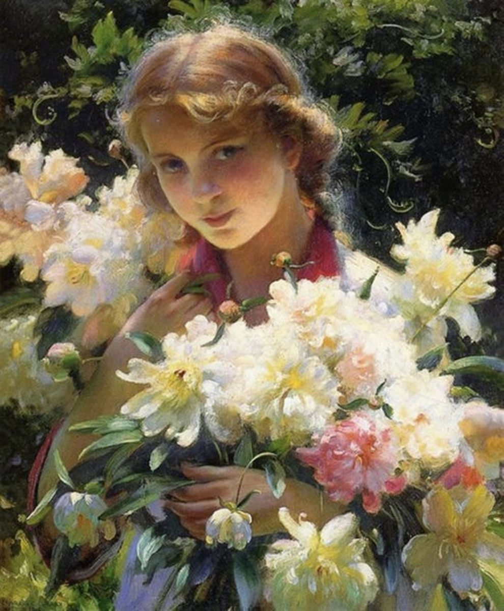 What a lovely painting of a girl holding a bunch of peonies!  I think Curran is a very talented artist, and capturing the look on this girls face shows that in part. 1915.