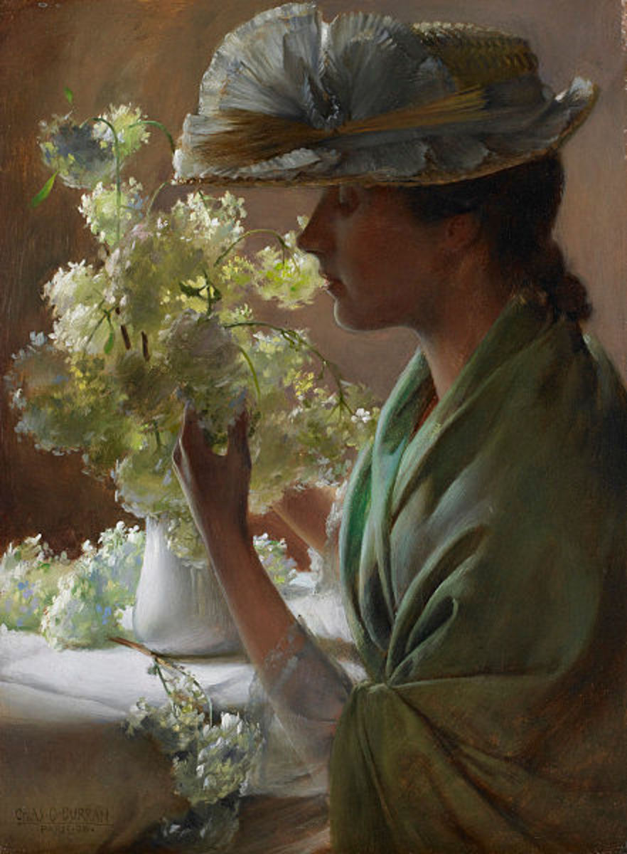"I truly love how the light is coming through the flowers in her bouquet.1890 Oil on Panel, located currently at the Birmingham Museum of Art.  ""Lady with a Bouquet."""