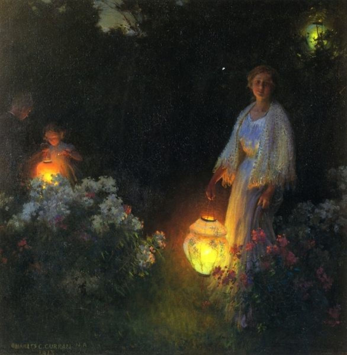 """The Lanterns"", circa 1910, by Charles Courtney Curran.  You can see the range of dark and light he can work with when you compare this piece with other light and bright ones."