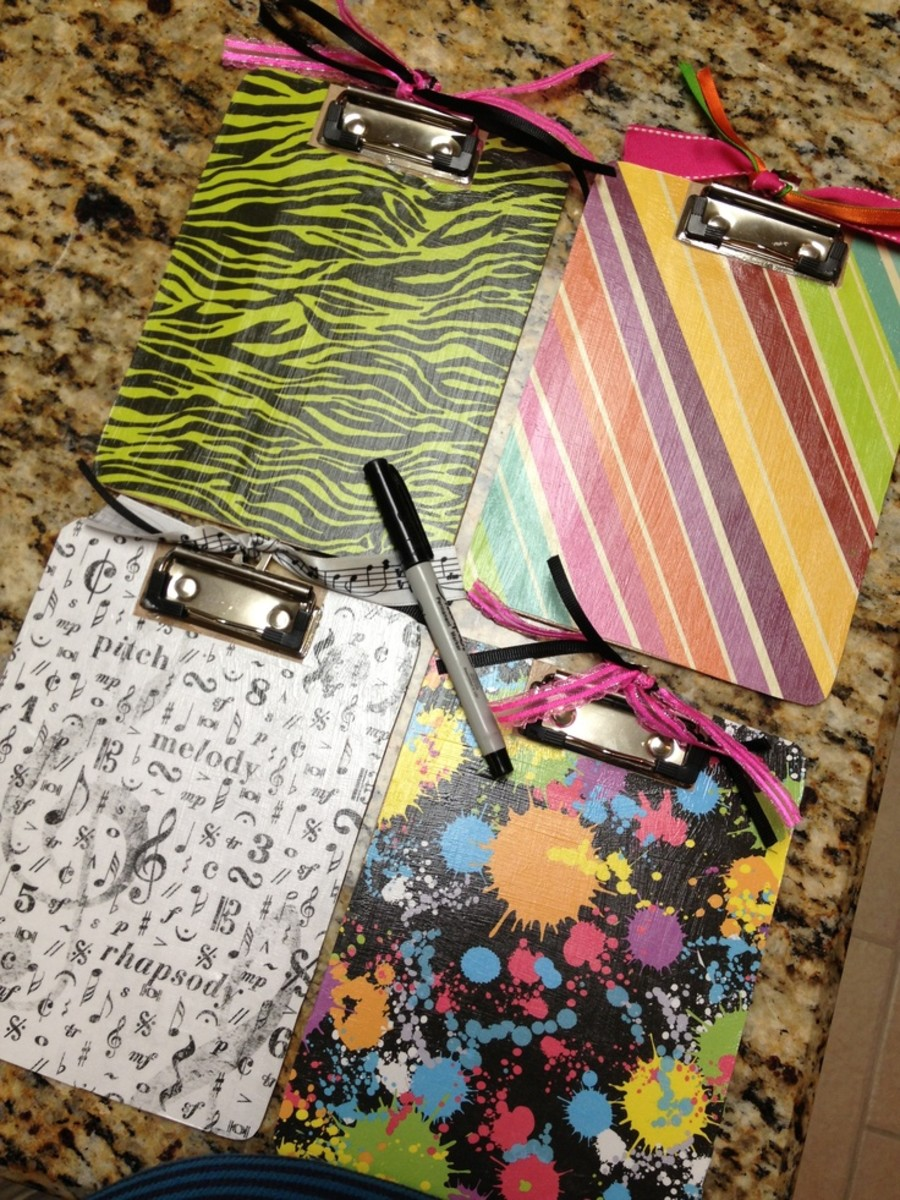 Decorated little clip boards.