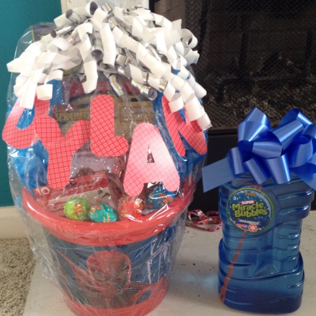 Birthday gift basket made from a hamper.