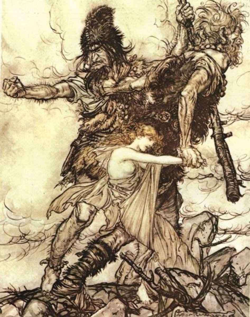 The jötnar Fafner and Fasolt seize Freyja in Arthur Rackham's illustration to Richard Wagner's Der Ring des Nibelungen
