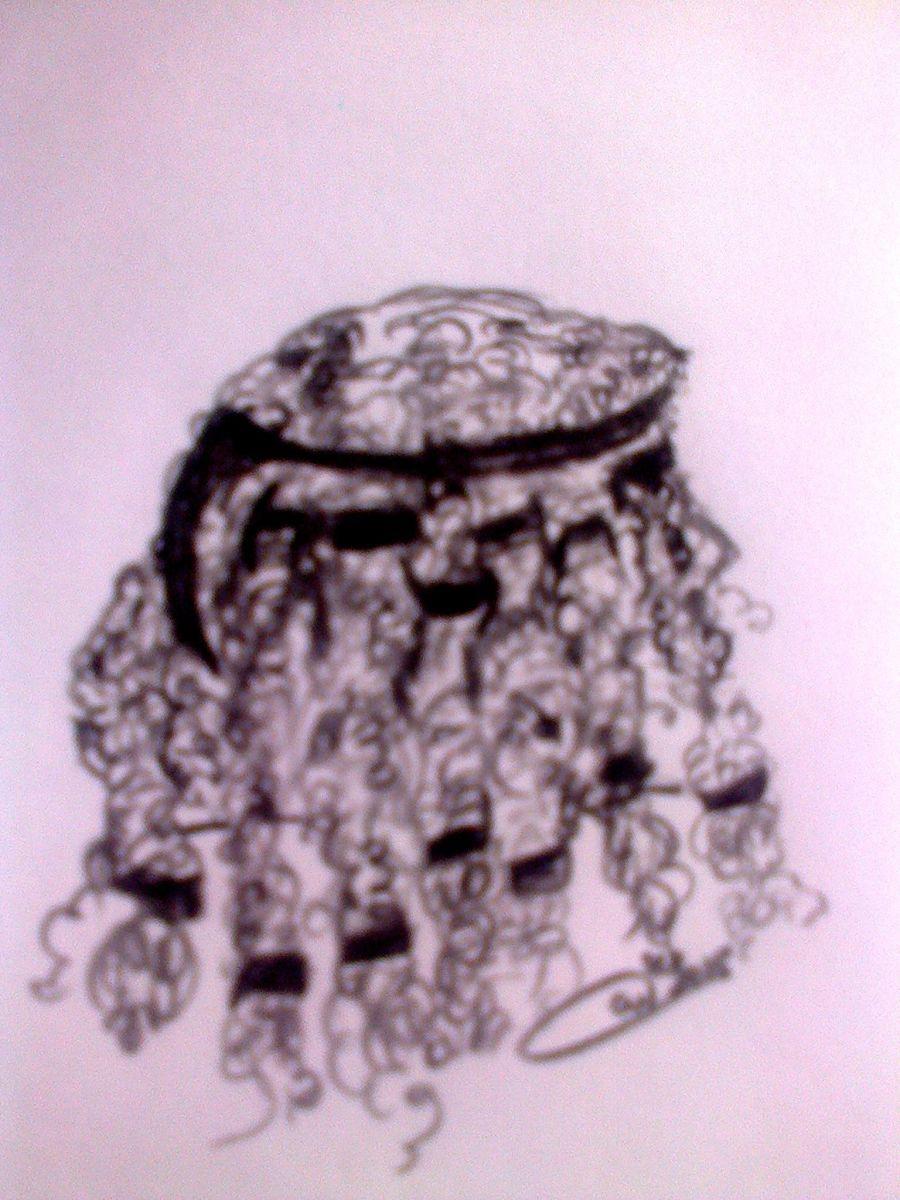 A poor illustration of Samson's seven locks