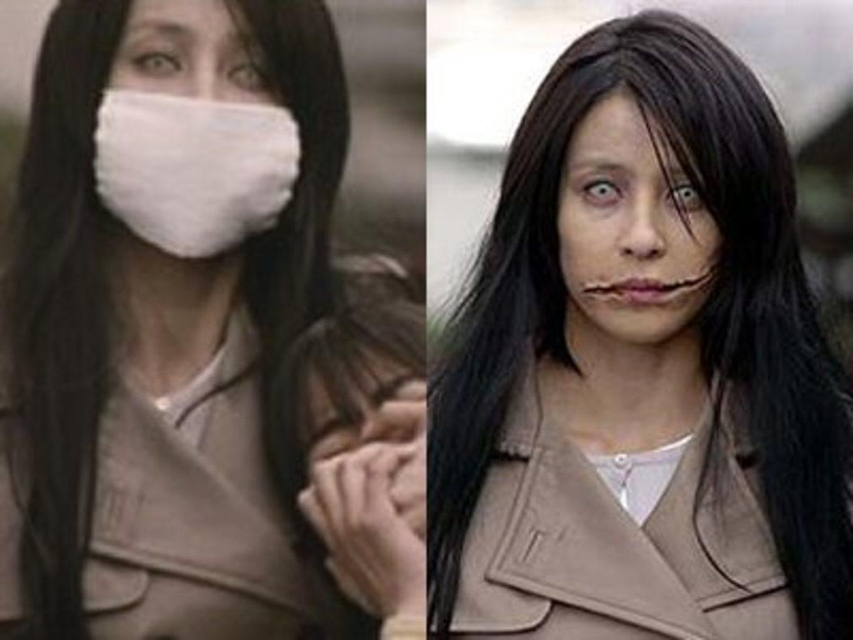 Kuchisake-onna with and without mask.