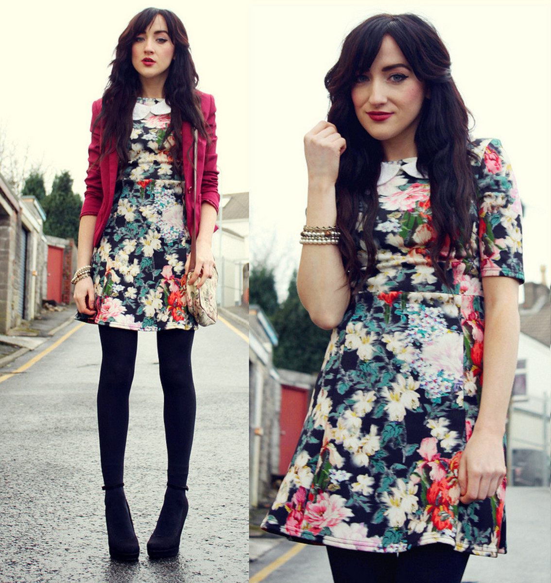 Choose a vintage inspired, dark floral dress.  Add black tights and a jacket or sweater for cooler months.