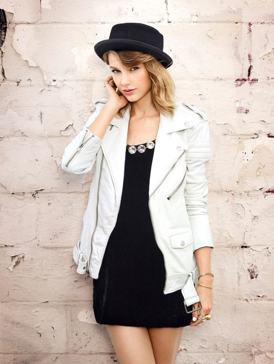 A stylish black and white outfit