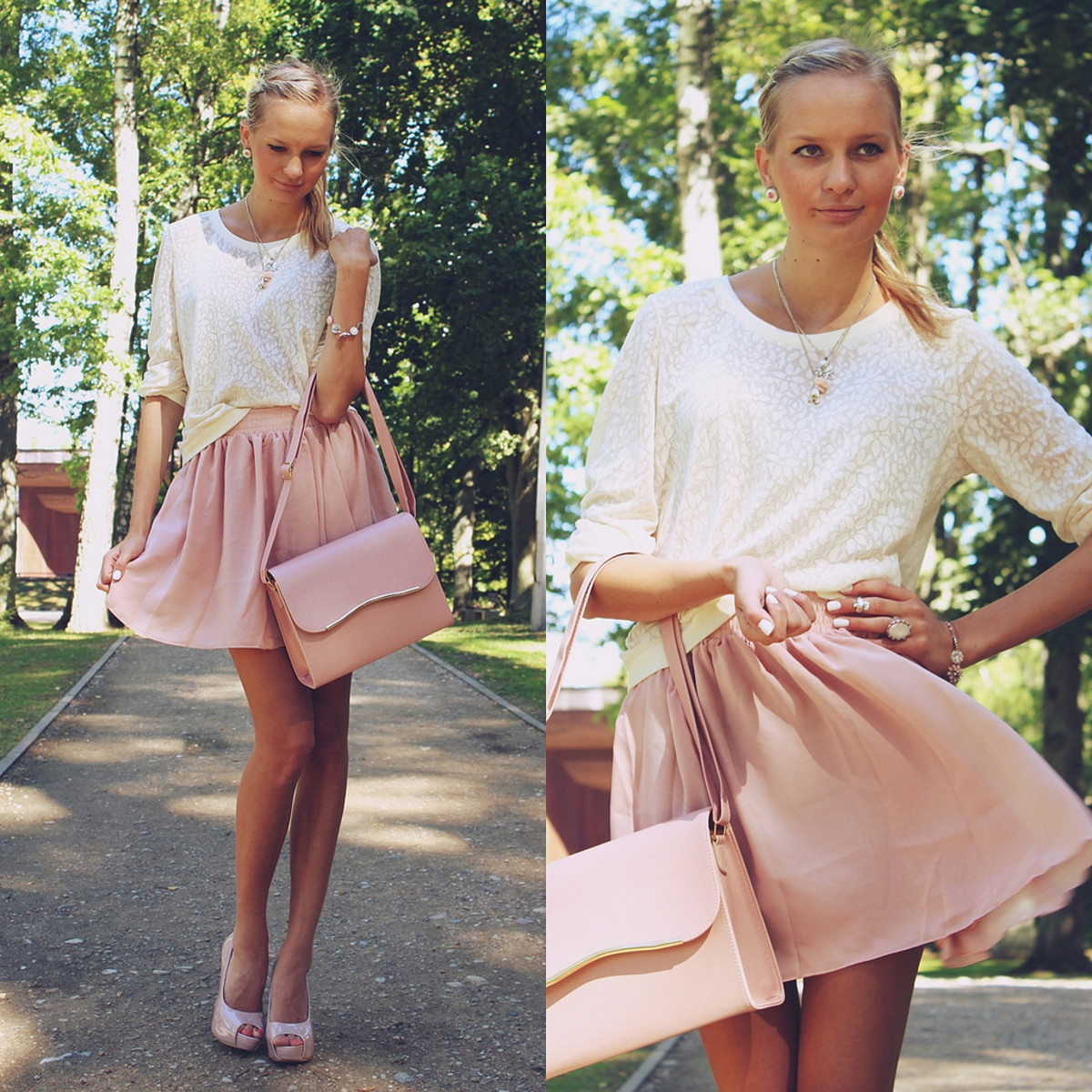 Start with a lacy white blouse and add a flirty peach or pink skirt.