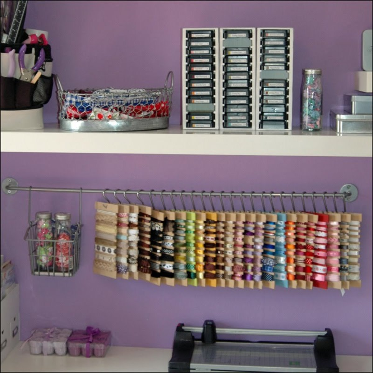 Save space with this hanging ribbon storage idea