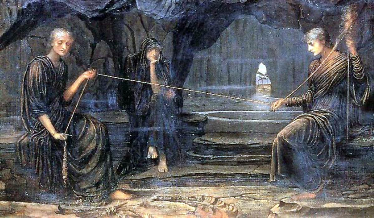 The Moirai Goddess of Fate - John Melhuish Strudwick (1849–1937) - PD-art-100