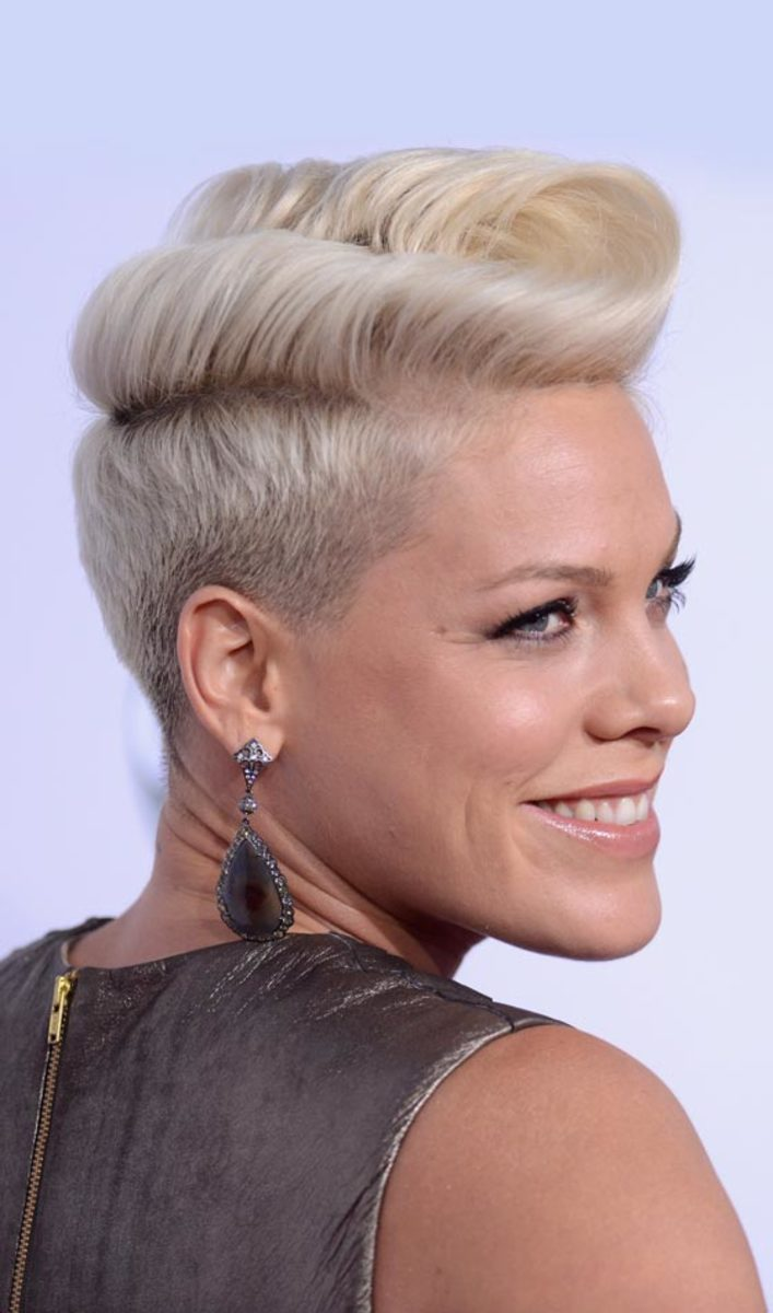 short punk hairstyle - blonde pompadour