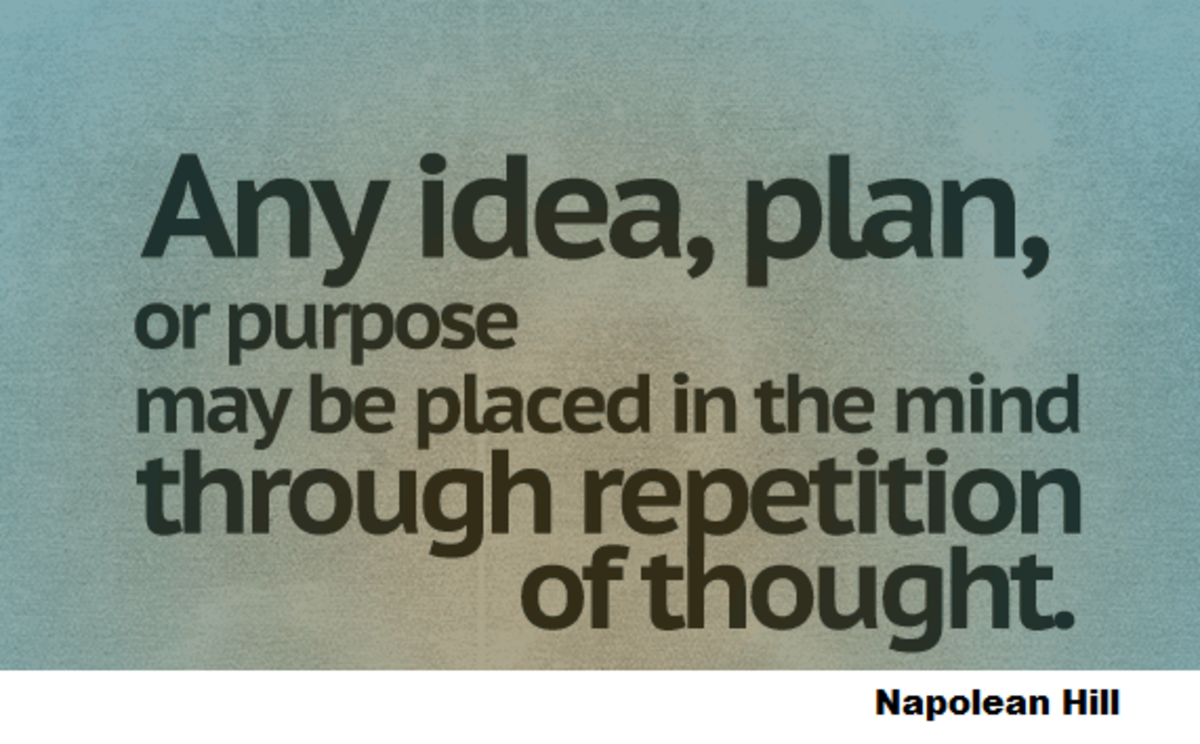 Napolean Hill's inspirational quote about auto-sugesstion