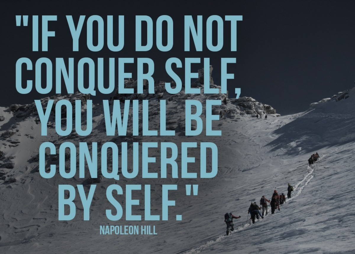 Napolean Hill's inspirational quote about mastery over self.