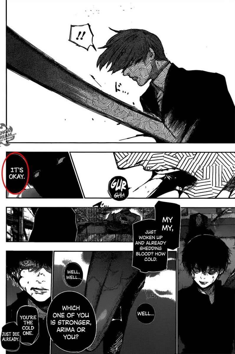 "Kaneki saying ""It's okay"" after stabbing Tsukiyama."
