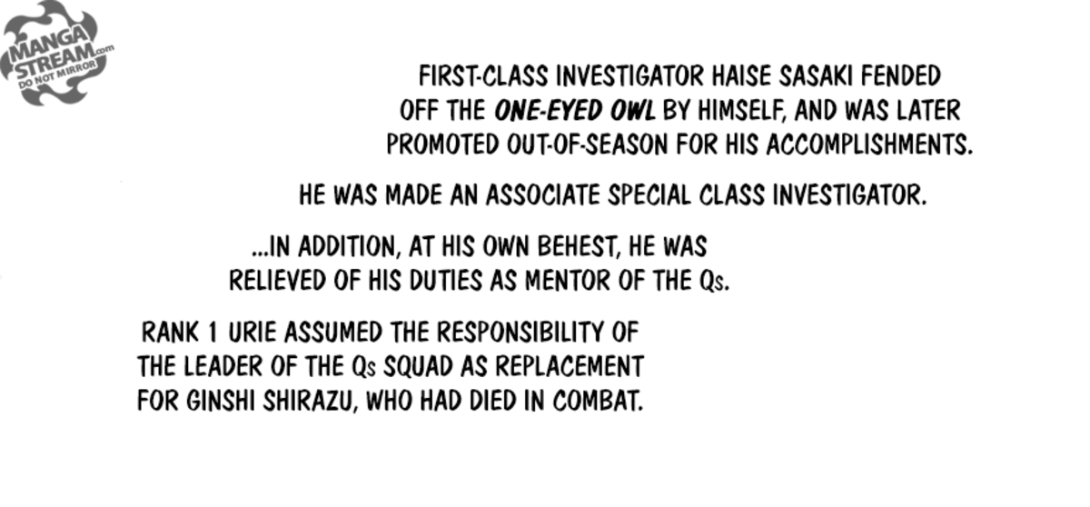 Haise Sasaki/Ken Kaneki is promoted to Associate Special Class after fending off the One-Eyed Ghoul.