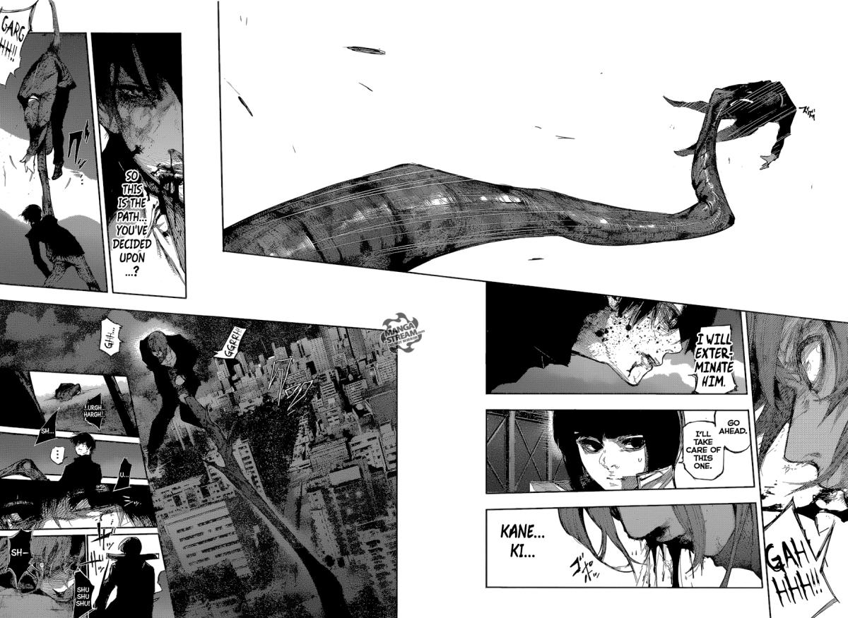 Kaneki throwing Tsukiyama off the building. Tsukiyama wonders if that was the path Kaneki chose.
