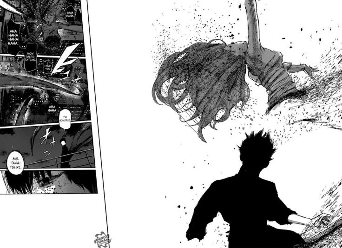 Kaneki cutting Eto in half.