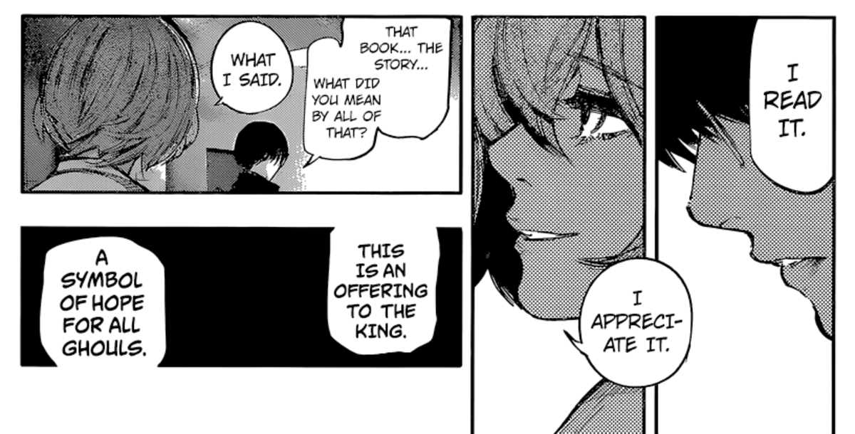 Eto telling the purpose of her book to Kaneki.