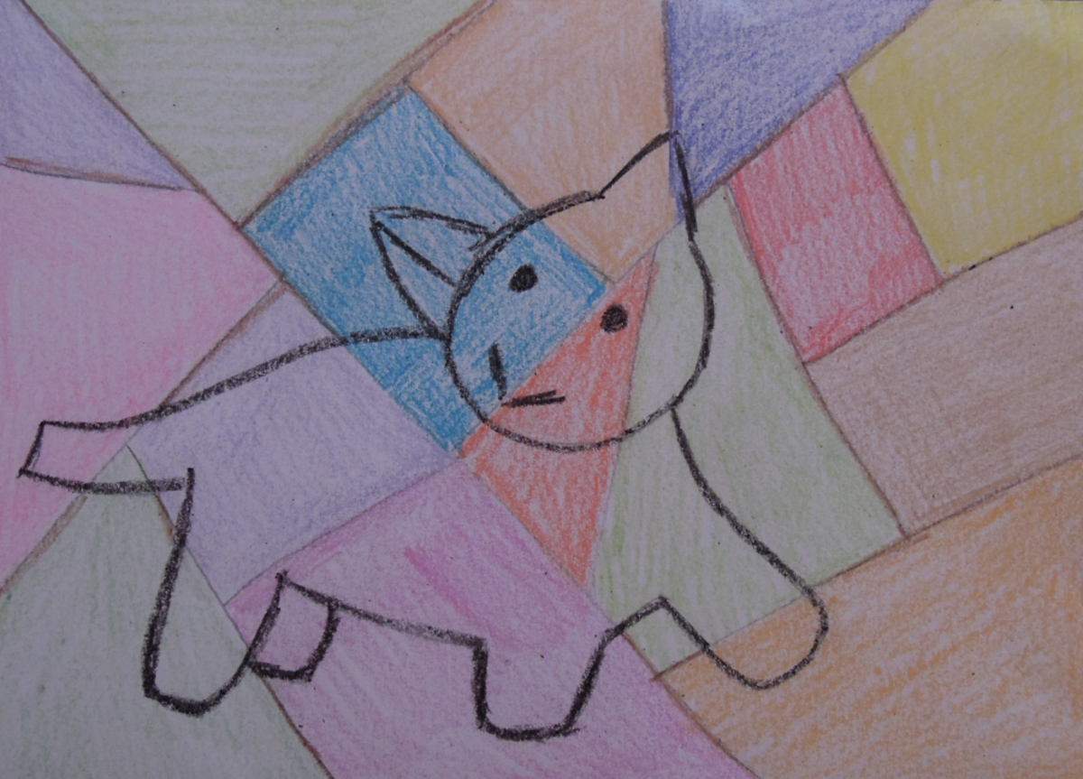 Step 4 - The finished cubist animal drawing.