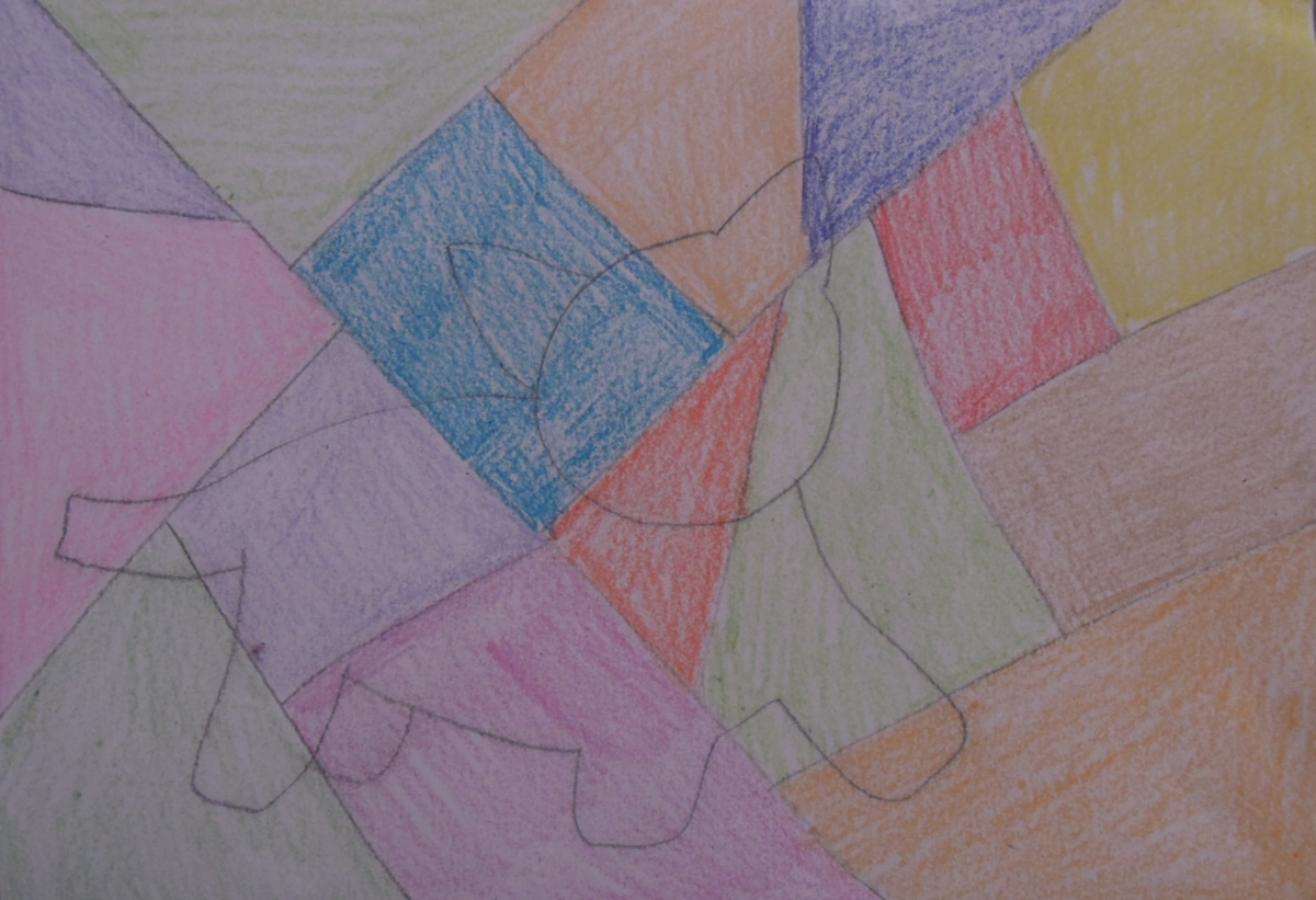 Step 4 - Add colour to your drawing by colouring each section, not the animal.