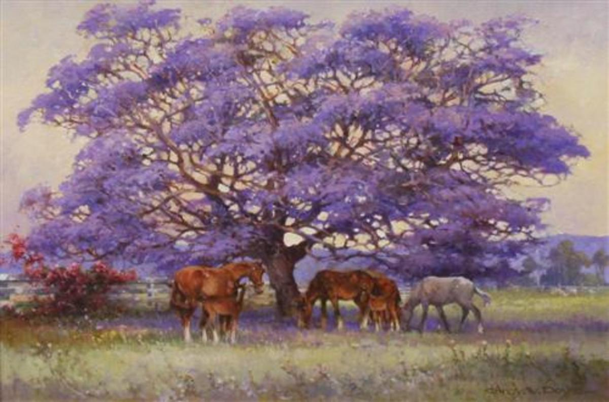 Jacaranda and Horses