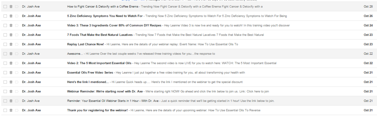 I have received over 12 emails from Dr. Axe since registering for last week's web-based seminar.