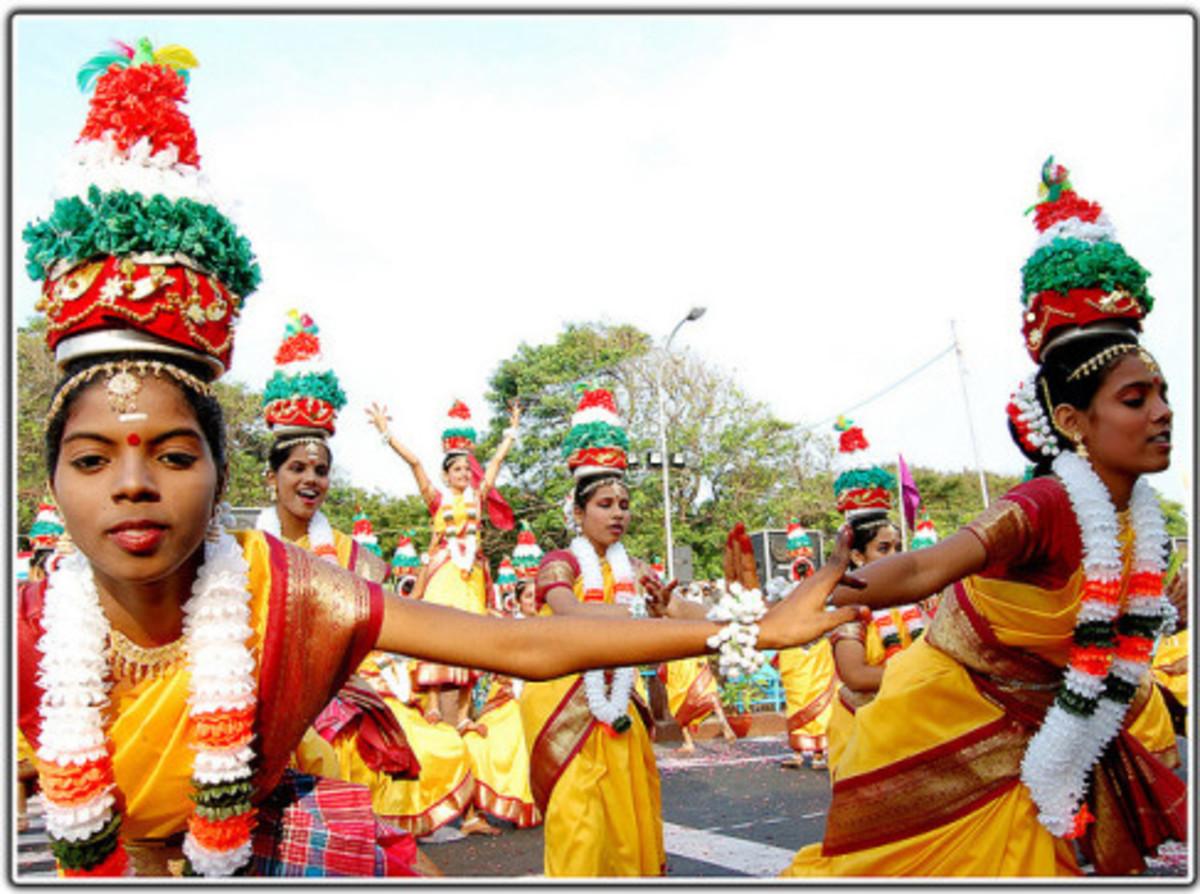 Women performing Karakattam, the folk dance of Tamilnadu