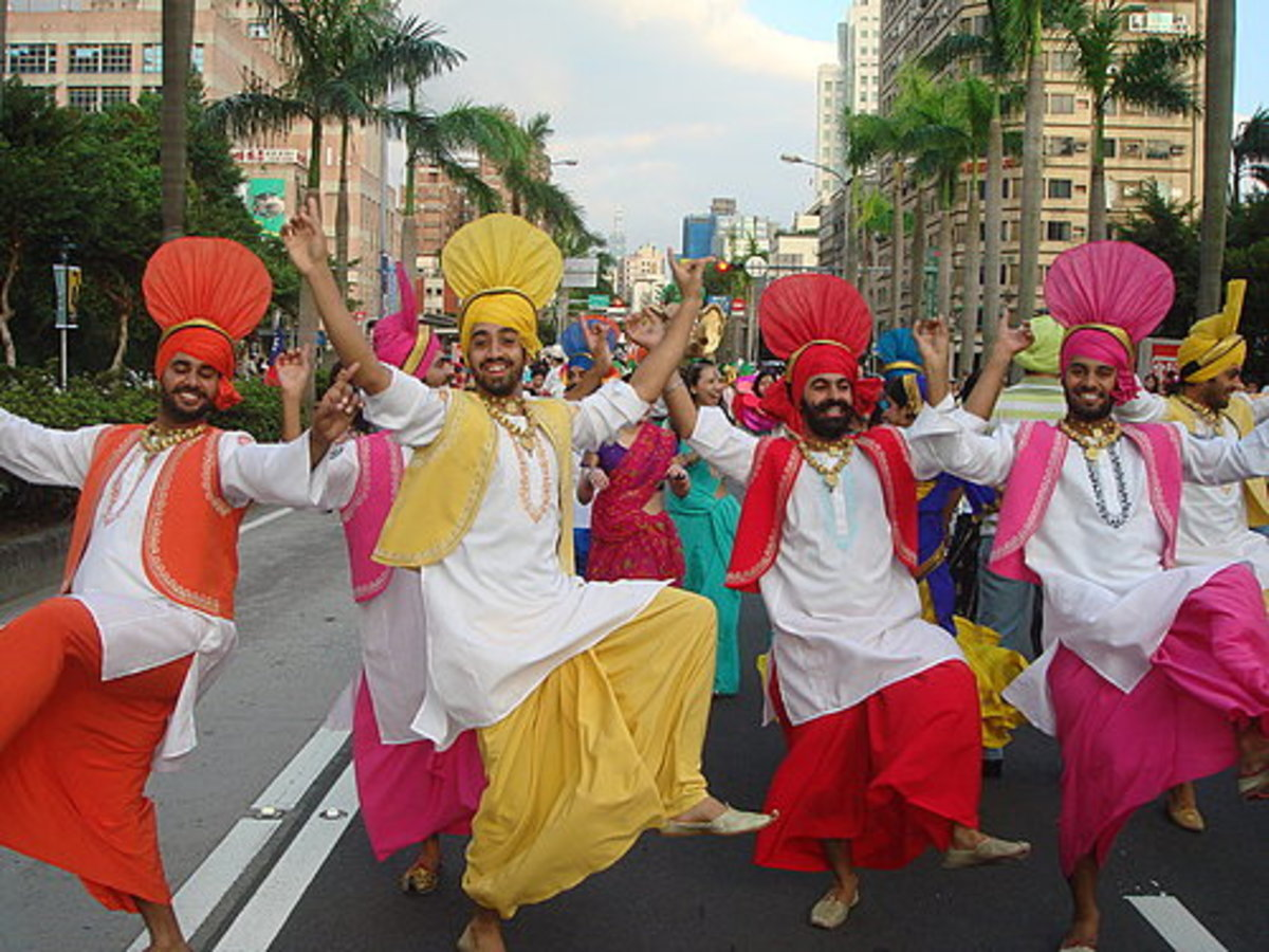Enthusiastic men performing bhangra