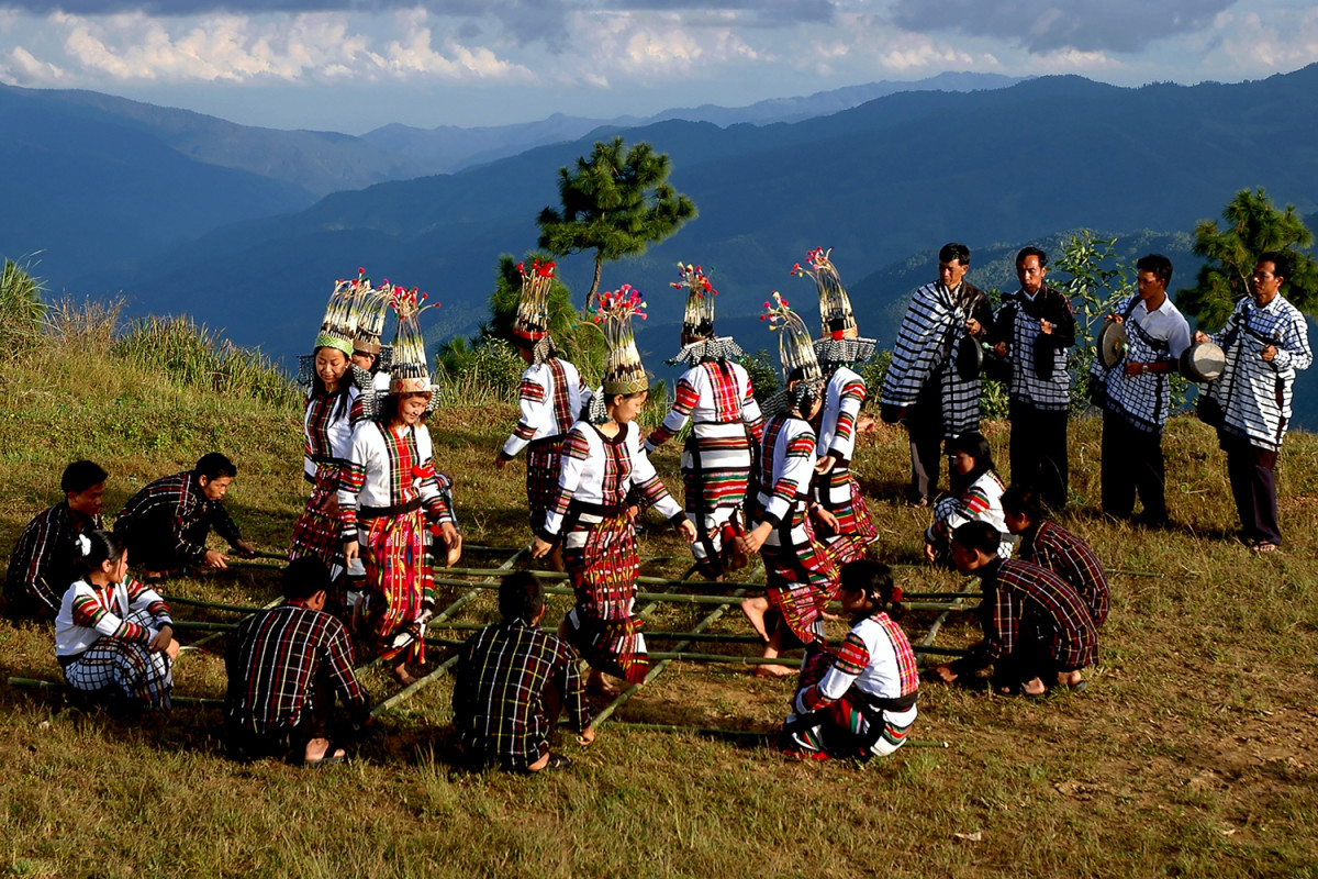 Traditional bamboo dance in the beautiful hills of Mizoram