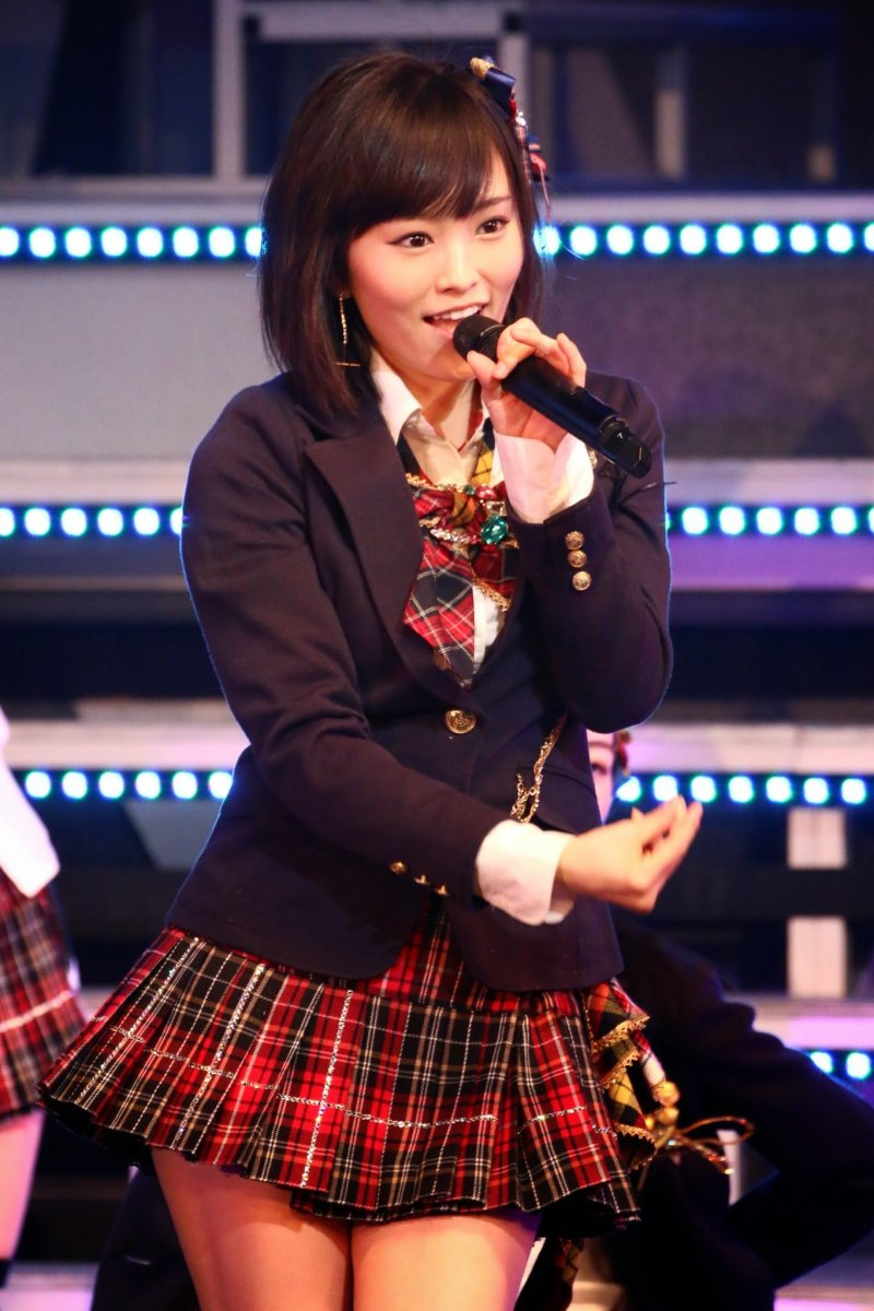 NMB48's Sayaka Yamamoto is shown here on stage and she was chosen as center for the theme song that will be discussed.