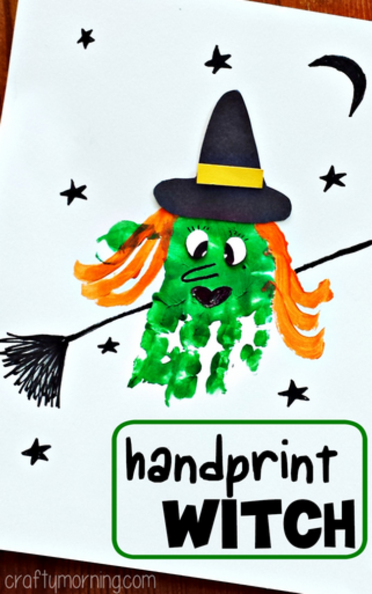 Handprint witches are fun and easy to make using your child's handprint as a template.  I love handprint craft ideas, they become treasures as your kids get bigger!