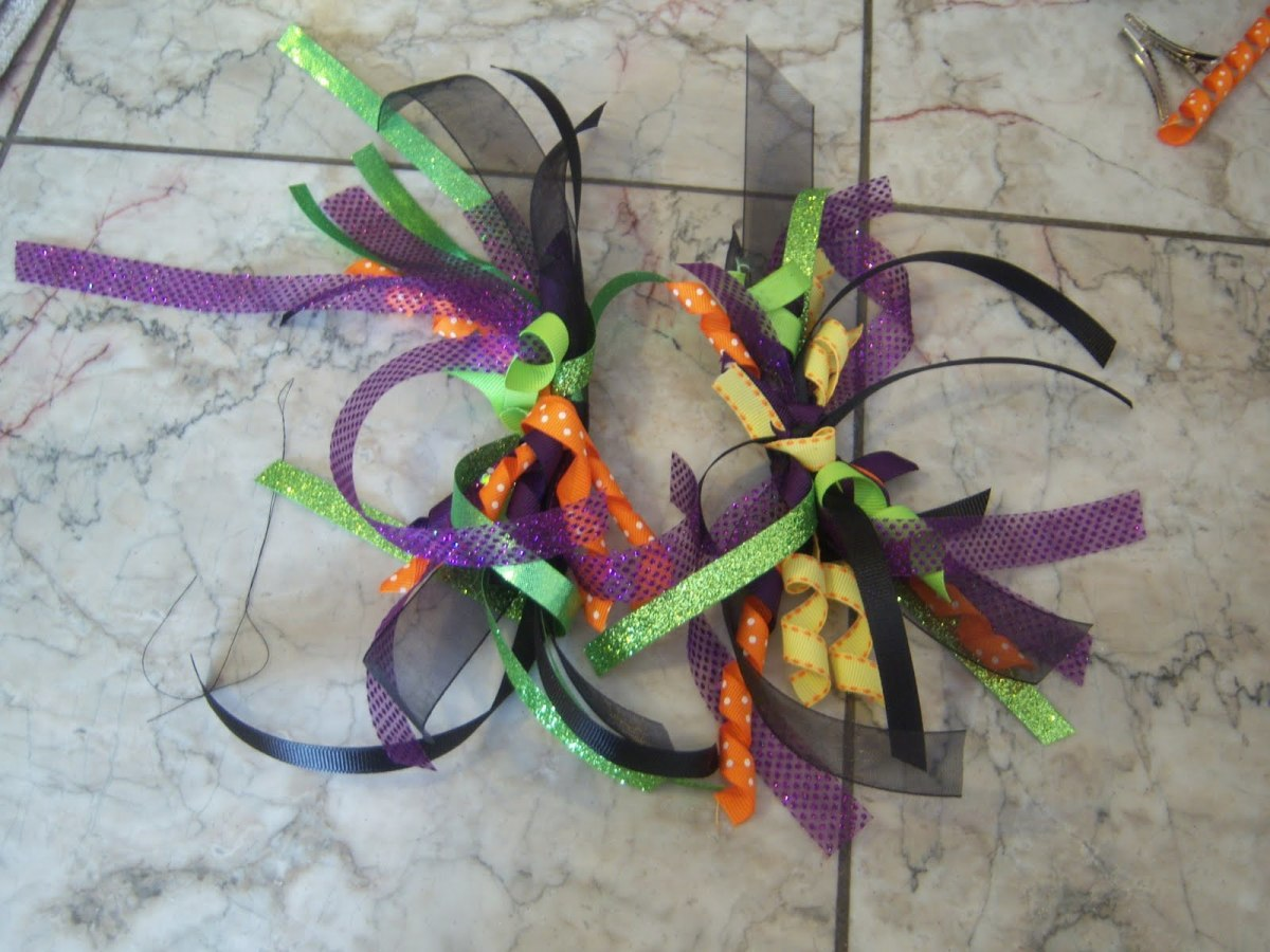 Make two bunches of ribbons so you should have something that looks like this