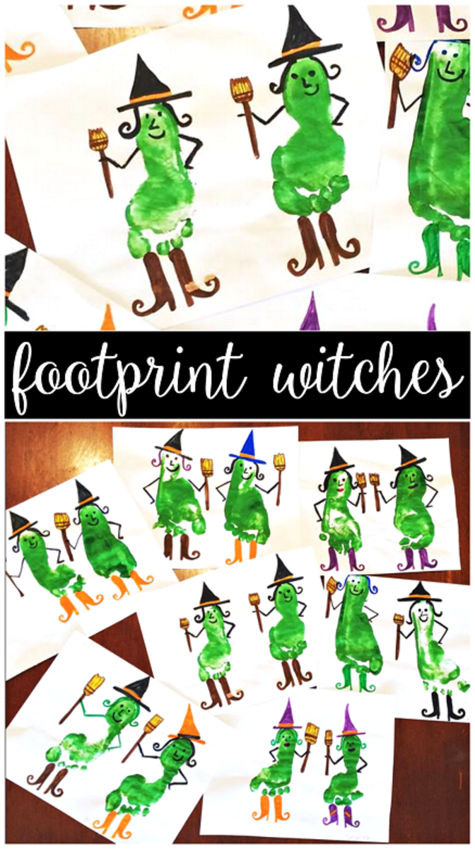 Footprint witches can be made using the same materials you gathered to make those cute handprint witches!  Be sure to visit Crafty Morning for some fun craft projects.