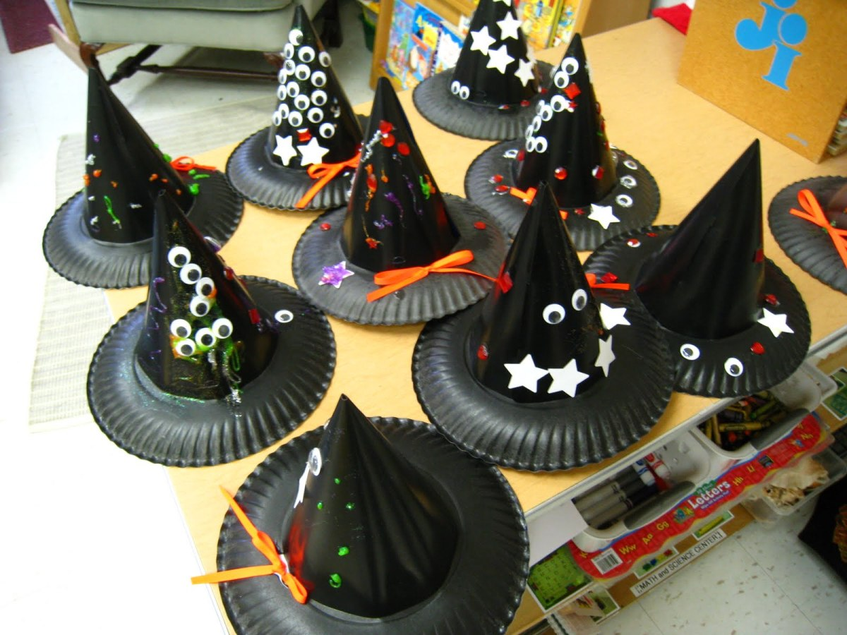 These paper plate witch hats were made with leftover party hats!  What a great way to use up old party supplies you have laying around.