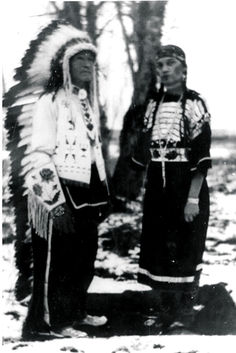My Great Great Grandparents on my mother's side wearing clothing given to them as a gift from the Shoshone Tribe. Cause perhaps for my love of ethnic costumes.