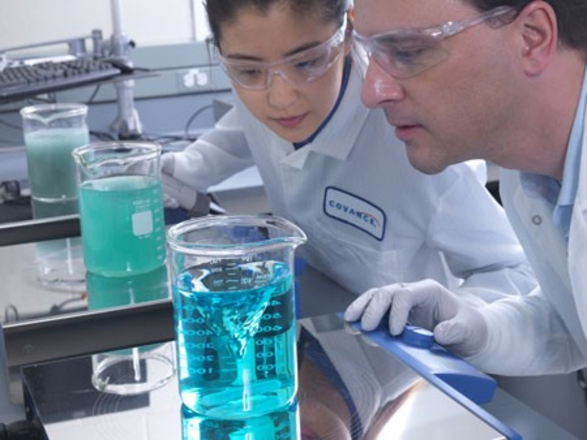 Chemists working hard in lab to develop drugs!