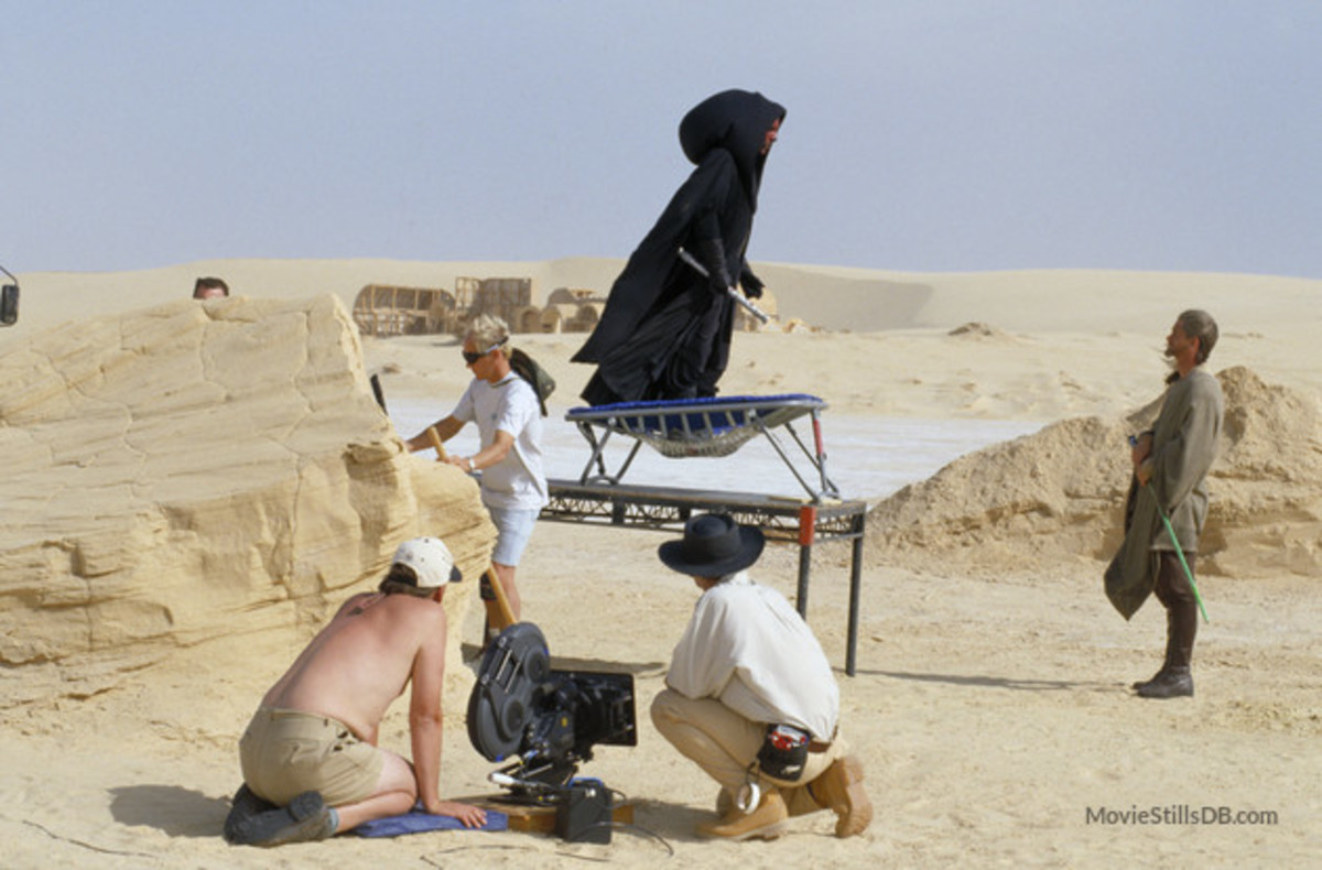 Ray Park preparing to do a real stunt on a real set in a real desert!