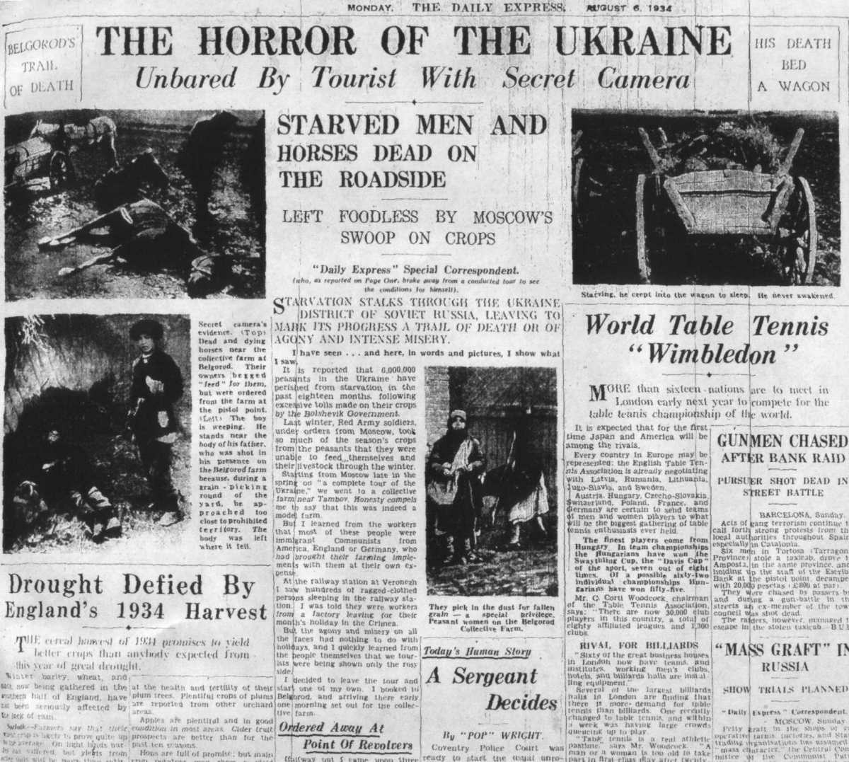 Newspaper account of Holodomor