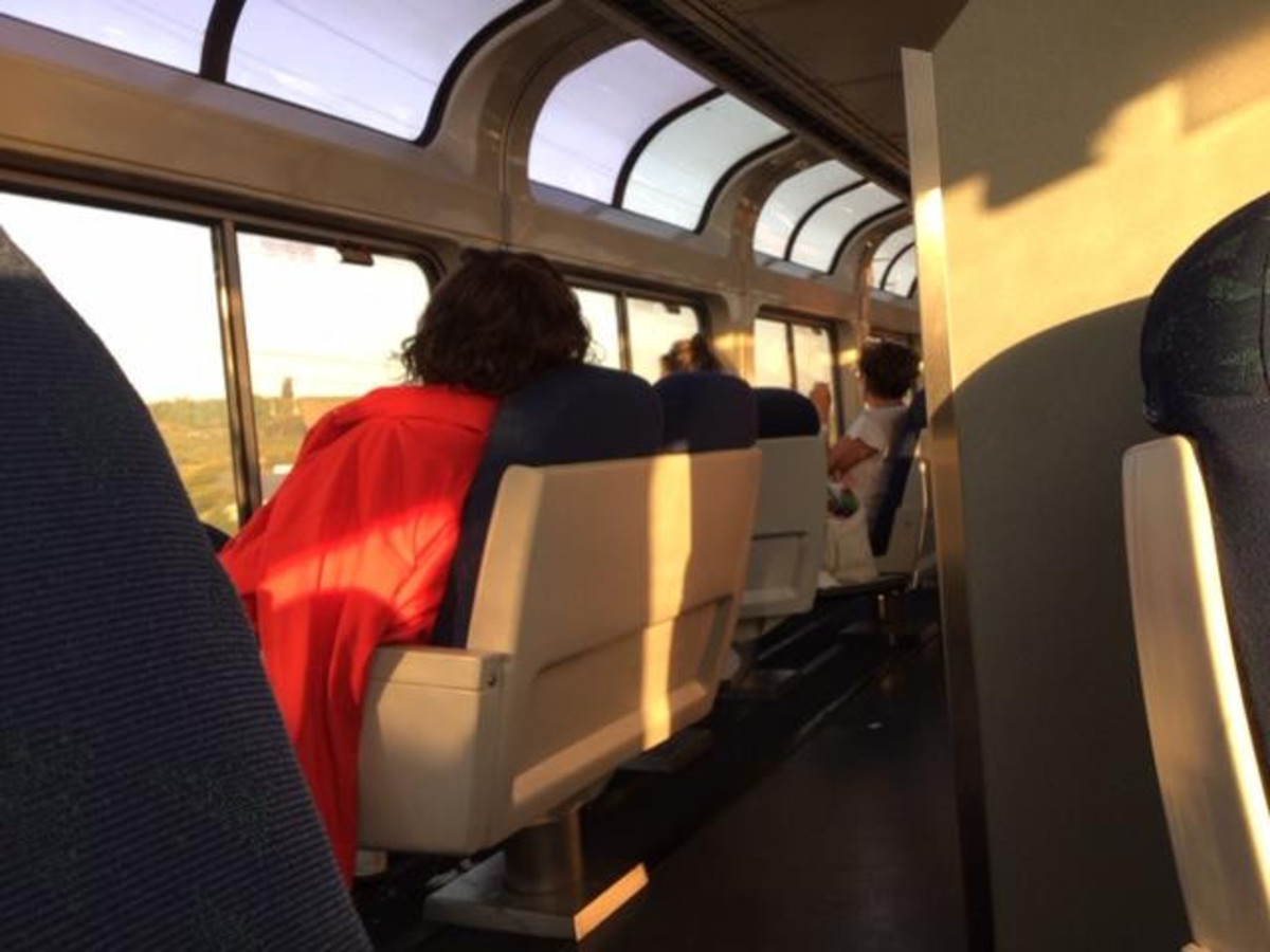 Passengers can go to the viewing car on the Coast Starlight to enjoy spectacular views
