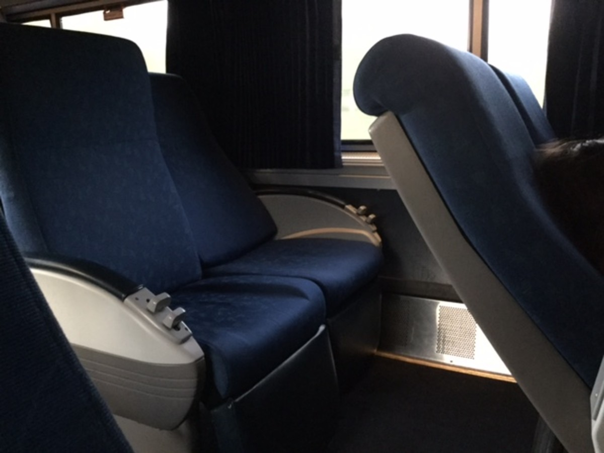 The Coast Starlight has comfortable reclining seats with leg rests
