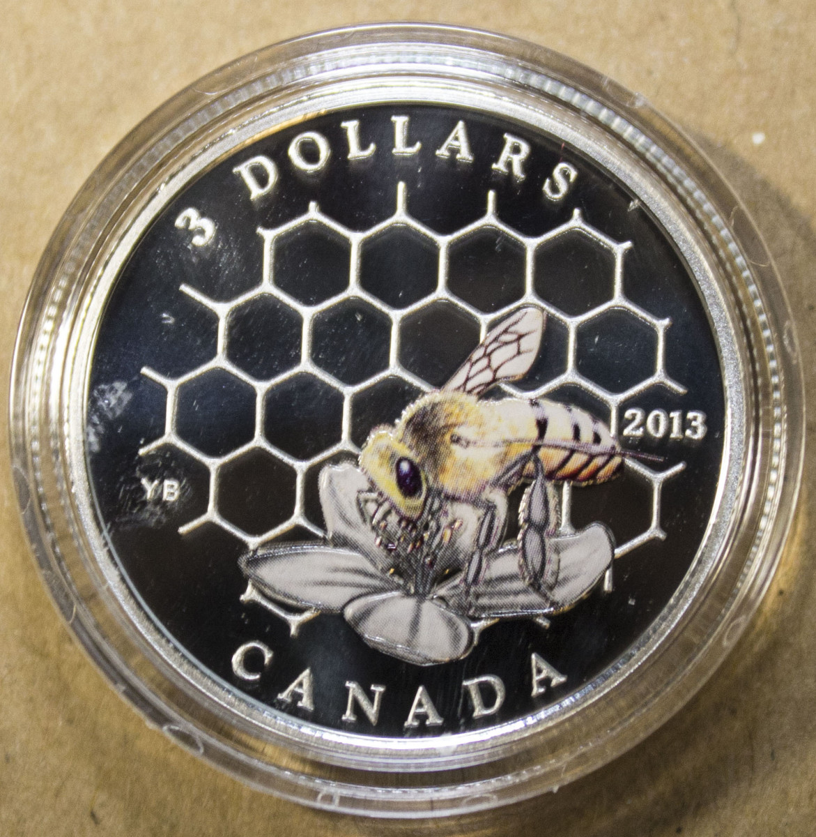 Candada $3.00 Bee and Honeycomb Reverse
