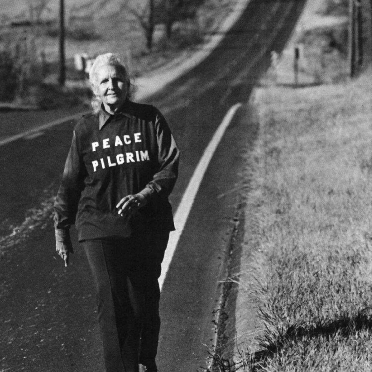 Peace Pilgrim walking