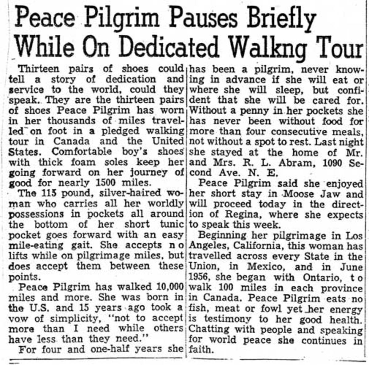 Newspaper article about Peace Pilgrim