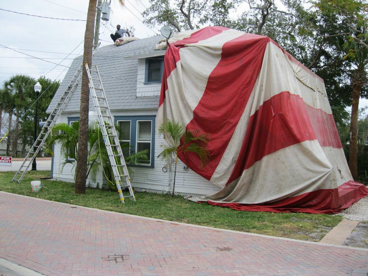 A home undergoing the fumigating/tenting process.