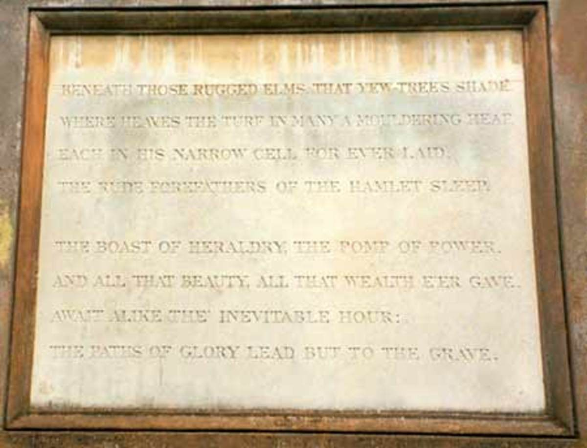 The Memorial Epitaph of Thomas Gray: Lines From His Elegy