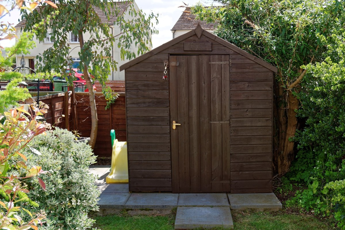 A small garden shed is an essential for storing garden tools and accessories.
