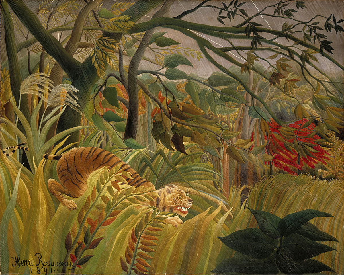 Tiger in a Tropical Storm (Surprised!) (1891) by Henri Rousseau