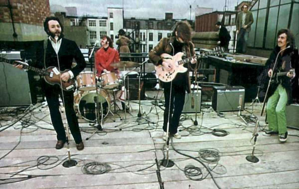 Paul, Ringo, John and George at the famous rooftop concert.