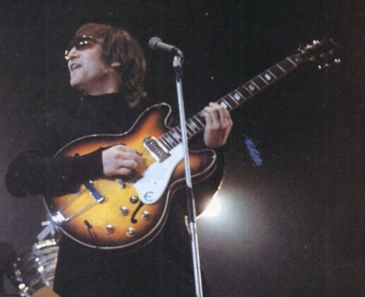 John Lennon with his 1965 Epiphone Casino with The Beatles.